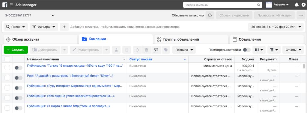 Панель управления Facebook Ads Manager